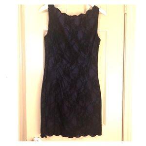 Dresses & Skirts - Black and purple lace sheath mini sleeveless dress